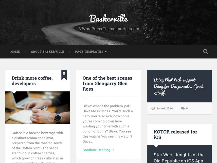 Baskerville - is a beautiful, responsive and retina-ready masonry theme for hoarders.